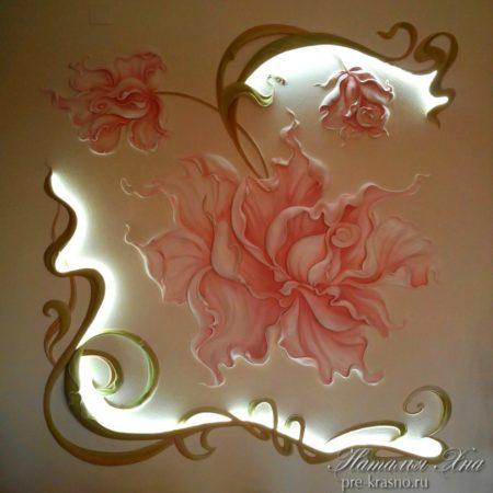 Лепнина декор Цветок с подсветкой
