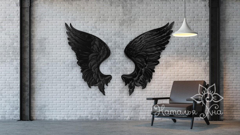 Крылья Ангела черного, гипсовый декор для лофта