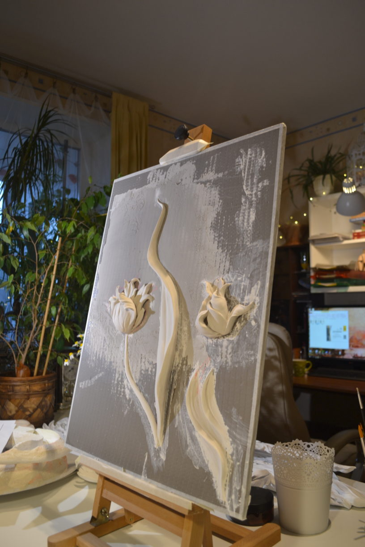 Обучение барельефу, курс лепки на стенах для Юлии Осташкиной